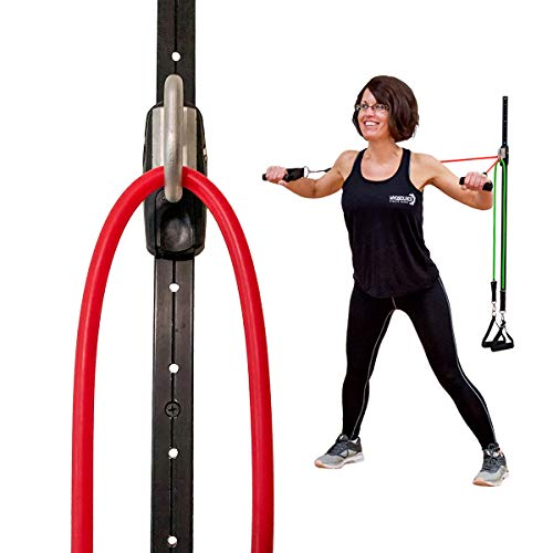 Space Saver Gym Resistance Training System – 1 Rail 1 Car Resistance Bands Wall Mount Anchor Home Office Gym Exercise Equipment Fitness – Accommodates Most Elastic Tubing Workout Bands Sets