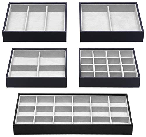 Magic Stackable Jewelry Trays Closet Dresser Drawer Organizer for Accessories Gadgets amp Cosmetics Storage Display Showcase Holder Box Set of 5