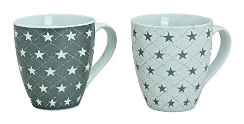 MC Trend 2er Set XXL Jumbo Becher mit Sternen Porzellan Kaffee Tee Kakao Cappuccino Tasse mit Henkel Getränke Geschenk-Idee Büro Küche Schreibtisch Pott ca. 450 ml