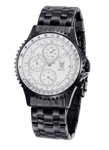 Konigswerk Mens Multifunction Black Bracelet Watch White Dial Crystal Markers SQ201419G