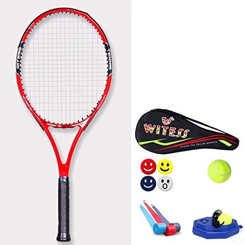 Rebily Full Carbon Einzelschläger, Tennisschläger Einzel Anfänger Carbon-Männliche und weibliche Studenten Doppel Professional Training Gerät Doubles Set (Color : Red and Black)