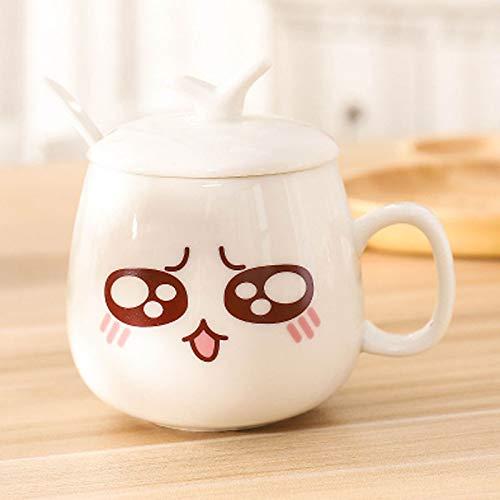 HRDZ Taza de cerámica con Tapa y Cuchara Set de Bebida Simple Creativo Taza de café de Gran Capacidad para el hogar