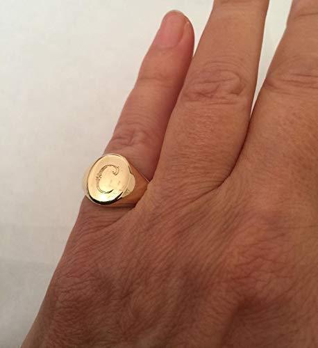 Gold Oval Shape Monogram Signet Ring, Engravable Mens & Womens Pinky Ring, Handmade Designer