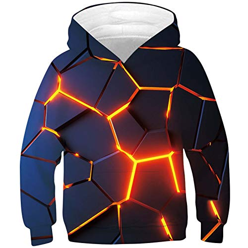 kids4ever Unisex 3D Geometry Hoodies Kinder Realistische Druck Kapuzenpullover Herbst Winter Pullover Pulli Sweatshirts Hoody für Jungen Mädchen Teen Alter 12-13