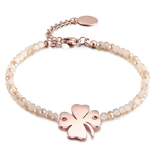 CIUNOFOR Kristall Armband Damen aus Edelstahl mit IP Rose Beschichtung Geschenkidee für Frauen Mädchen Celtic Knot Herz Vierblättriges Kleeblatt Unendlichkeitszeichen Armkette Symbol Liebe Glück