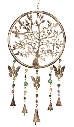 Purity Style Windspiel mit Glocken, Perlen und Schmetterlingen zum Aufhängen