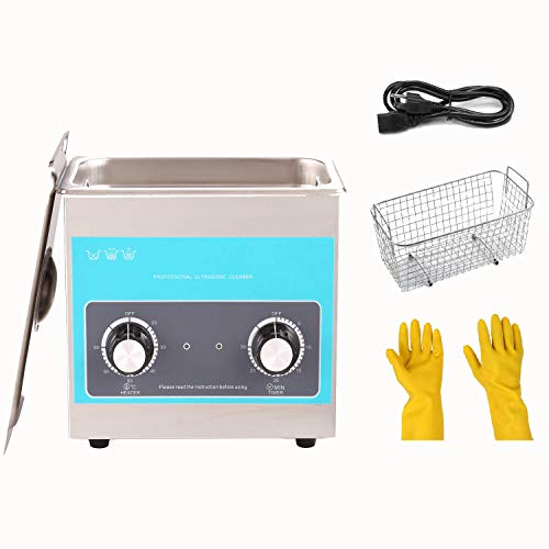 3L Ultrasonic Cleaner with Timer&Heater, Knob Control 304 Stainless Steel Ultrasonics for Jewelry Watch Glasses Lab Instrument Pistol Electronics,120W Ultrasonic&100W Heating