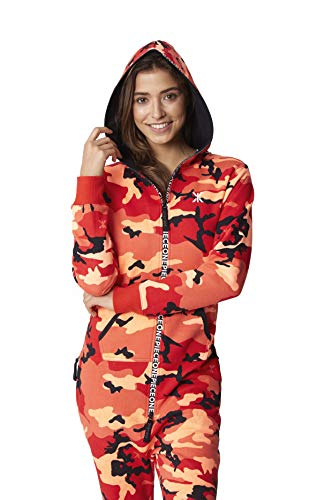 OnePiece Damen Unisex Logo Camo Jumpsuit, Rot (Red), Small - 4