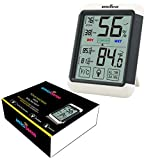 amiciSense ABS Plastic made AS-55 Digital Touchscreen with Backlight Temperature Humidity Hygrometer Thermometer with 2x AAA Battery (White)