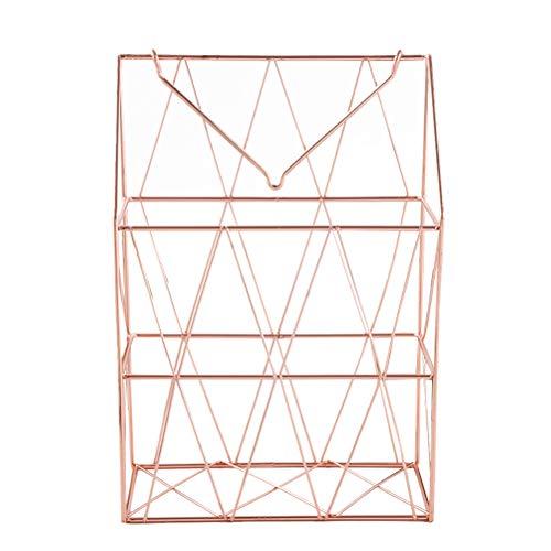 Toyvian Eisen Zeitschriftenhalter Schreibtisch-Organizer zum Aufhängen von Büchern, Zeitschriftenregal, für Zuhause, Büro, Schule 32.5 x 22.5 x 10cm rose gold