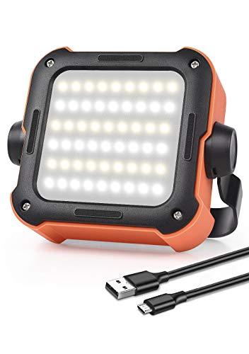 Lámpara de trabajo LED, batería de camping, lámpara LED USB recargable, portátil, foco LED, 1000 lúmenes, resistente al agua, con 15 modos de luz para camping, pesca, emergencias, etc.