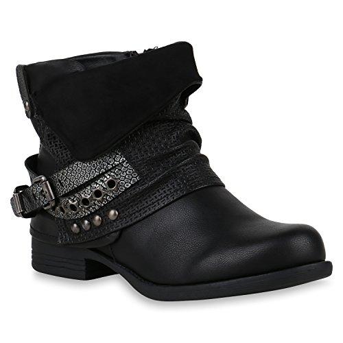 Damen Biker Boots Stiefeletten Metallic Schuhe 147490 Schwarz 38 Flandell
