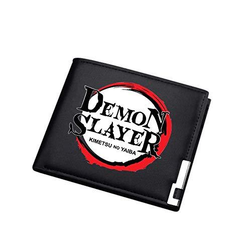 Lsmaa Demonio Slayer Anime Money Bolsa Estudiante Purso Corto PU Cuero Slim Wallet Kamado Tanjirou ID Titular de la Tarjeta Cambiar el Embrague