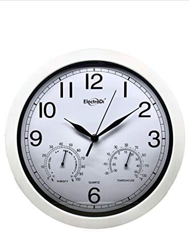 Ducomi Reloj de pared con indicador de humedad y temperatura – Diseño moderno para cocina, dormitorio, entrada – Accesorios de decoración de casa (wite, diámetro de 35 cm)