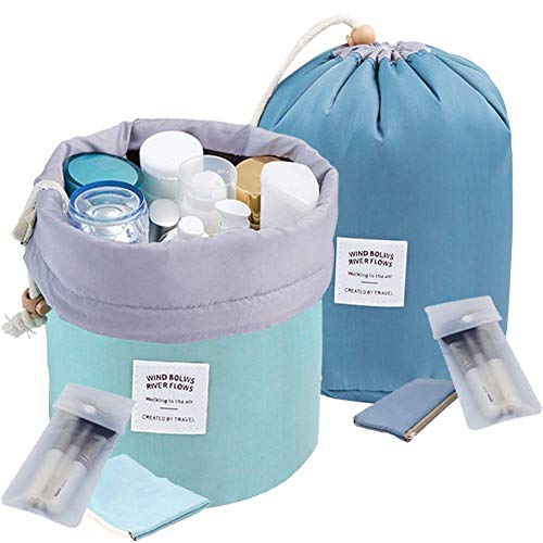 INVODA 2PCS Travel Cosmetic Bag Makeup Organizer Bag Bathroom Cases Toiletry Bag with Drawstring (Green+Blue)