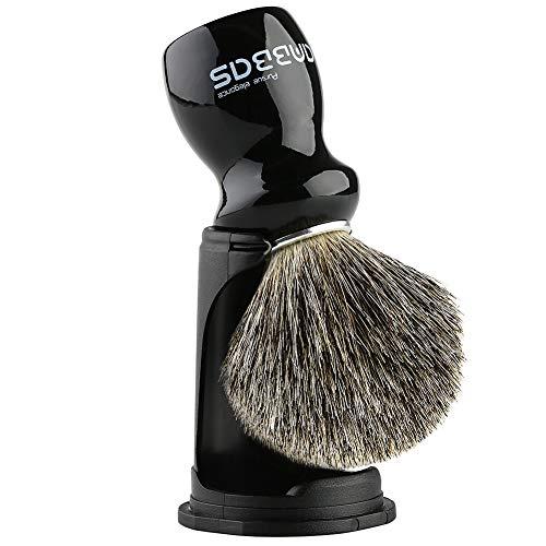 Rasierpinsel Dachshaar mit schwarz Halter Anbbas hochwertiger Holz Griff Rasierschaum Pinsel perfekt für Herren Rasur(Schwarz)