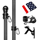 HIBLE Flag Pole 5FT Flagpole Kit with American Flag Sturdy Carbon Fiber Flag Pole for House Garden Yard Tangle Free Wall Mounted Flag Pole for Residential and Commercial (Black Flag Pole with Bracket)