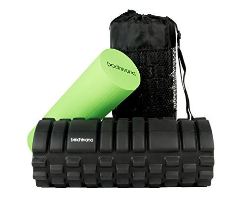 Bodhivana 2 in 1 Trigger Point Foam Roller for Deep Tissue Muscle Massage – High Density Foam Roller for Muscles & Soft Foam Roller for Workout