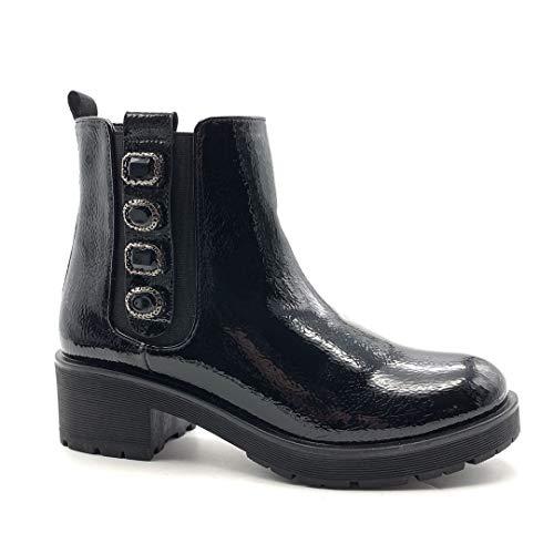 Angkorly - Damskie buty botki - Chelsea Boots - Biker - Lakierowane - Stras - Bicolor obcas blokowy 4,5 cm, czarny - czarny - 39 eu