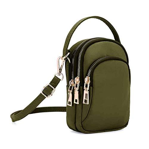 Mdsfe Ladies One Shoulder Messenger Bag Leichte Nylontasche Messenger Bag Ladies Mobile Kopfhörertasche - Army Green, Mini (maximale Länge <20 cm)