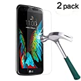 TANTEK [2-Pack] Screen Protector for LG K10,Tempered Glass Film,Ultra Clear,Anti Scratch,Bubble Free,Case Friendly