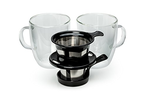 Java Concepts Pour Over Filter and 2 Double-Wall Glass, Black with 2 Mugs