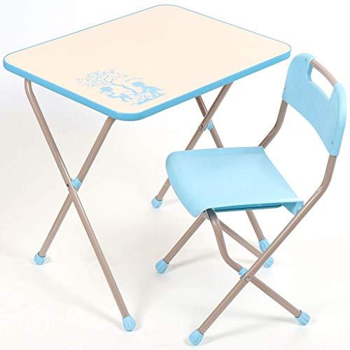 NiKA kids Kindermöbel-Set, Klapptisch und Klappstuhl, für Kinder von 3 bis 7 Jahre, METALLBASIS (Hellblau)