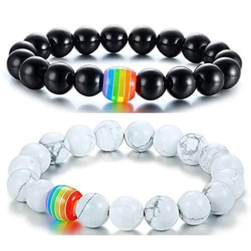 Nanafast LGBT Pride Rainbow Bracelet Black Matte Agate/White Howlite Bead Bracelets For Gay Lesibian (Howlite + Black Matte Agate)