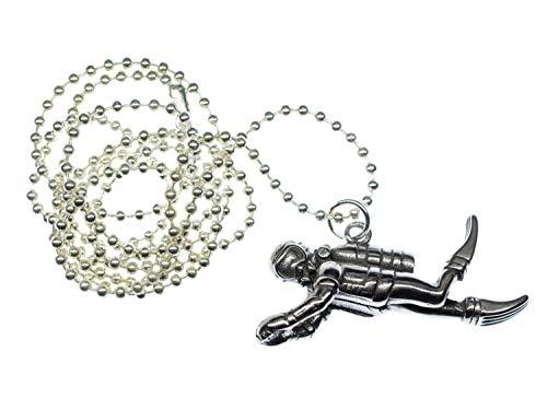 Miniblings Collar de buceo de 50 mm, hecho a mano, cadena de 80 cm, para traje de buceo, equipo de buceo, deporte y buceo, cadena de bolas chapada en plata
