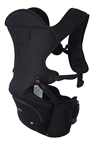 MiaMily Hipster Essential Hip Seat Baby Carrier with 3 Carry Positions incl. Ergonomic Forward-Facing, Built-in Storage, Adjustable Waist Belt, for Babies and Toddlers from 4m to 4y, Black