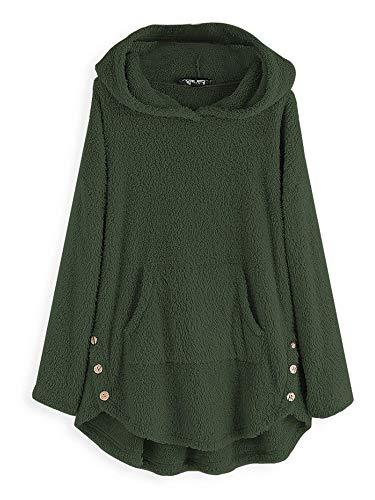 Damen-Kapuzenpullover aus Fleece, Übergröße, lange Pullover, Baggy Tops, solide, flauschige Decke Gr. S, armee-grün