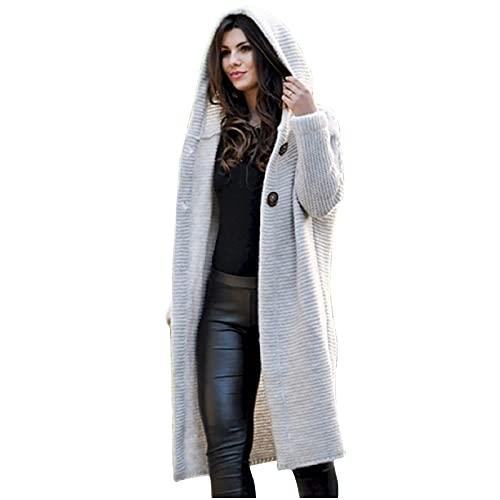 AllinKlei Sudadera con capucha para mujer, ligera, para otoño, cárdigan largo, manga larga, holgada, de punto, con capucha, beige, M