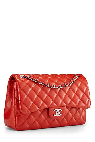 CHANEL Red Quilted Lambskin Classic Double Flap Jumbo (Pre-Owned)