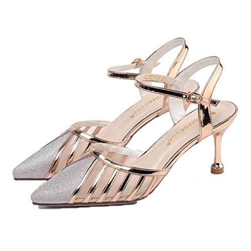 Lady Slingback Sandals Gold Sliver Hollow out Mesh Lentejuela Transpirable Punta Puntiaguda Elegante Louis Heel Summer Sandals