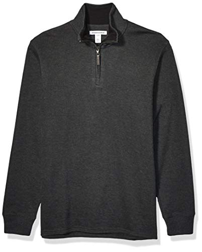 Amazon Essentials Men's Quarter-Zip French Rib Sweater, Charcoal Heather, X-Small