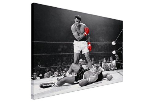 Canvas it up Iconic Druck auf Leinwand, Motiv Muhammad Ali mit roten Handschuhen, New Age / Pop Art, tolle Deko, Schwarz / Weiß 6- 20