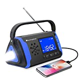 NOAA Weather Alert Radio - Crank Solar Powered Portable Radio with 4000mAh Battery Power for Cell Phone, Bright Flashlight for Household Emergency and Outdoor Survival (Blue)