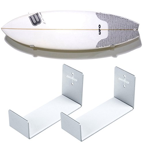 Unho Soporte de Pared para Tabla de Surf, Un Par de Sostenedor Colgante, Estante de Pared para Tablas de Surf,de Aluminio Inoxidable,18x10x7cm