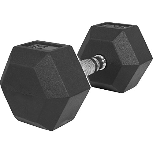 GORILLA SPORTS Hexagon Gummi Studio Hantel 2-50 KG | Gummi Beschichtung | Chrom Griff Farbe 15 KG - TÜVRheinland Zertifiziert