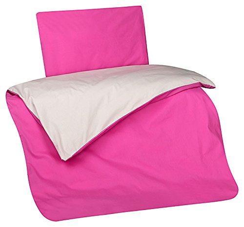 Aminata Kids süße Wende-Baby-Bettwäsche pink, hellgrau Mädchen 100x135 cm + 40 x 60 cm aus Baumwolle mit Reißverschluss, unsere Kinder-Bettwäsche-Set mit Uni-Motiv, einfarbig ist weich und kuschelig