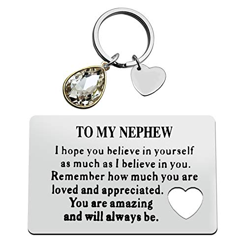 Engraved Wallet Insert Card Keyring Set to My Nephew Gifts from Aunt Uncle...