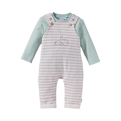 BORNINO'MOUSE & ELEPHANT' 2-tlg. Set Latzhose mit Shirt/Langarmshirt/Trägerhose - Farbe: grün, Baumwolle, Öko-Tex zertifiziert - Babybekleidung...