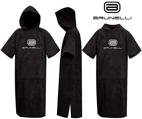 Brunelli Poncho Überzieher Bademantel Handtuch Schwimmen Kite Surfen Black 100% Baumwolle