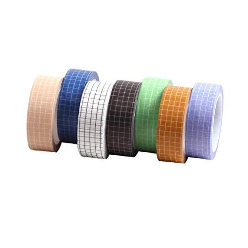 7 rollos de cinta adhesivas de papel enmascaramiento Washi Tape Rolls auto-adhesivo de la etiqueta engomada colorida para cuaderno del diario del álbum Decoración