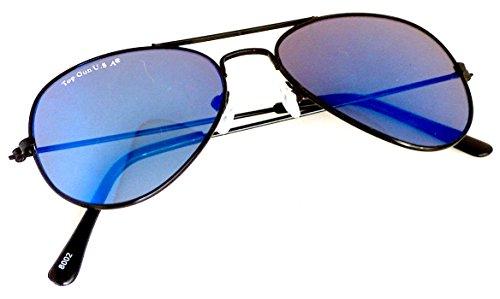 Kinder Pilotenbrille UV-Schutz 400 LSF 3 Pilotenbrille Black and Blue speziell für Kinder Cosplay Trend-Brille Nerd-Brille Geek-Brille