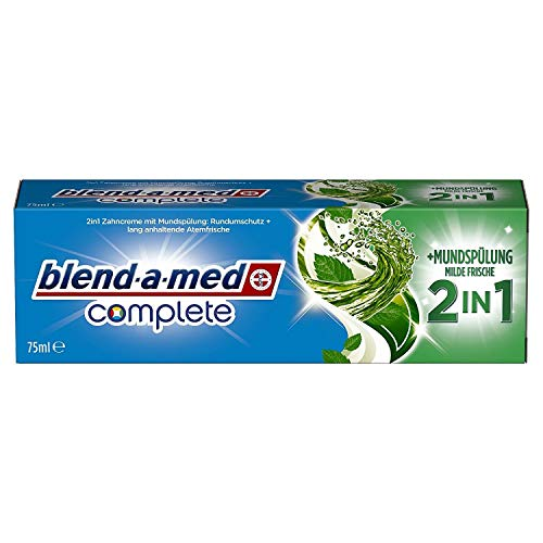 Blend-a-med Complete 2in1 plus Mundspülung Milde Frische Zahncreme, 75 ml (6 Stück)