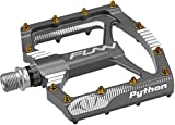 Funn Python Flat Mountain Bike Pedal Set - Wide Platform BMX Bicycle Pedals, 9/16-inch CrMo Axle (Gray)