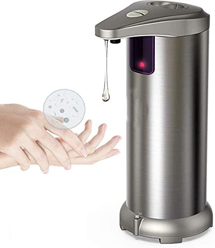 Dispensador de jabón automático sin contacto, 250 ml, dispensador de jabón líquido sin contacto, impermeable, de acero inoxidable, dispensador de manos con sensor infrarrojo para baño, cocina