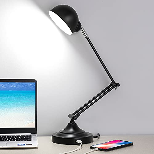 3-Color in 1 LED Desk Lamp with USB Charging Port, Swing Arm, Fully Dimmable, Eye-Caring Task Lamp, Touch Control Black Metal Architect Drafting Table Lamp for Bedside, Office, Work, Reading -Memory