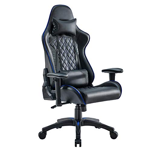 Mr IRONSTONE Gaming Chair Office Executive Computer Ergonomic Video Game Chair With Backrest Armrest Height Adjustable Swivel Recliner Headrest Comfortable Lumbar Pillow PC Esports Racing Chair (Blue)